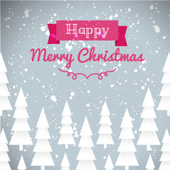 Greeting card of happy Merry Christmas. Fir-tree, snow, banner
