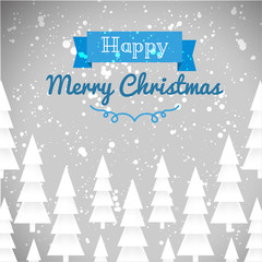 Greeting card of happy Merry Christmas. Fir-tree, snow, banner, text. Vector illustration