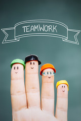 Teamwork and finger puppets.