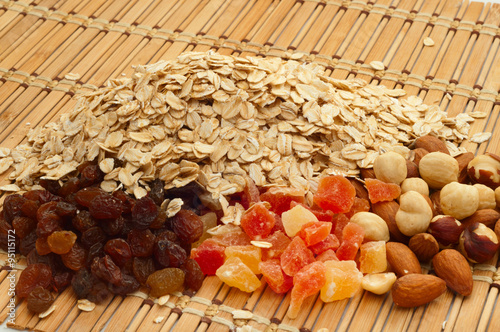 """oatmeal with dried fruit, nuts and raisins"""" Stock photo and royalty ..."""