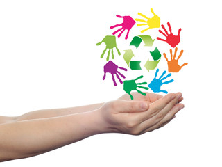 Concept circle of hands, green recycle symbol