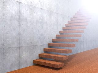 Concept or conceptual brown wood or wooden stair or steps near a wall