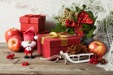 Christmas gifts boxes and decoration