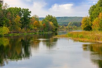 Nice autumn scene on river