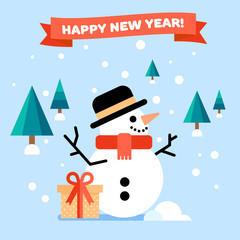 New Year greeting card with snowman and trees on a back. Vector flat illustration.