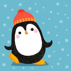Hand drawn of cute penguin wearing red hat