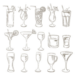 Cocktails collection. Vector Set of Sketch Cocktails and Alcohol