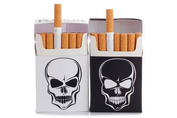 Box of filter cigarettes on white background