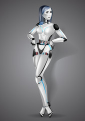 Beautiful girl robot android on gray background. Vector illustration