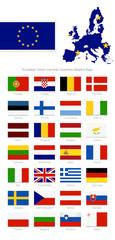 European Union countries member detailed flags.