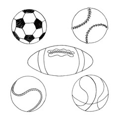 Freehand drawing sport balls vector set isolated on white background