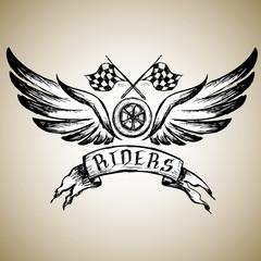biker tattoo or emblem , hand drawn design elements.