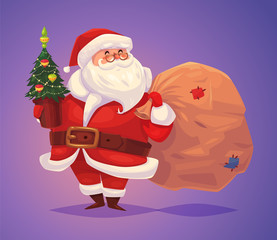 Funny santa. Christmas greeting card background poster. Vector illustration