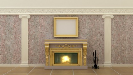 Empty picture above fireplace in luxury interior background on the granite wall with plaster decoration ionic elements and columns with marble floor. Copy space image. 3d render