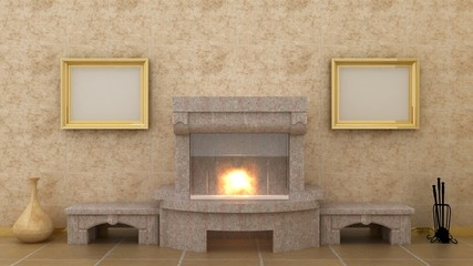 Empty picture above fireplace in classic luxury interior background on the granite wall with plaster decoration ionic elements and columns with marble floor. Copy space image. 3d render