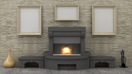 Empty picture above fireplace in classic interior background on the stone wall with stone floor. Copy space image. 3d render