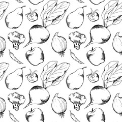Vegetable fruit black and white monochrome ink hand drawn seamless pattern texture background