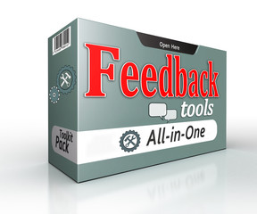 feedback tools pack all in one concept on white background