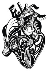 Human heart. Vector heart illustration tattoo
