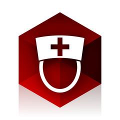 nurse red cube 3d modern design icon on white background
