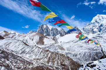 Buddhist prayer flags in the Himalaya mountains, Nepal