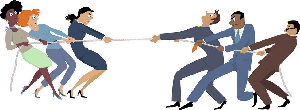 Businesswomen versus businessmen tug of war, EPS 8 vector illustration, no transparencies