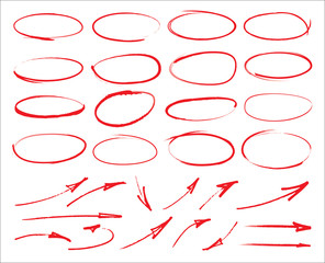 Vector marker circles and arrows