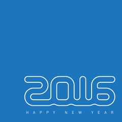 Happy new year 2016. Creative greeting card design template. Uni