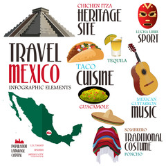 Infographic Elements for Traveling to Mexico