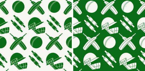 Seamless pattern with cricket game equipment
