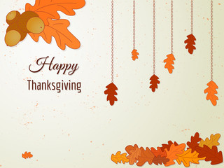 Happy Thanksgiving greeting card with oak leaves and acorn.