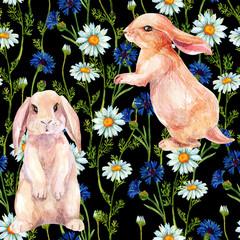 Rabbit among flowers. Watercolor seamless pattern
