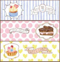 Watercolor sweet cakes tags, labels ,banners set