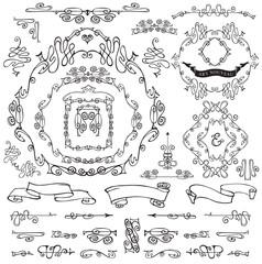 Calligraphic Royal Design Elements.Frames,Borders,ribbons