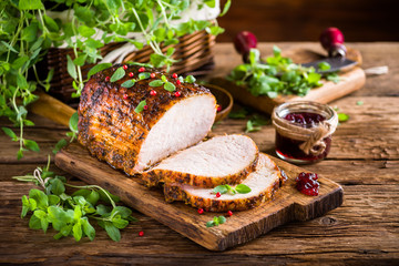 Roasted pork loin with cranberry and marjoram