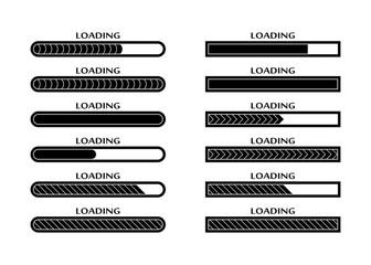 Set of Loading, uploading, downloading status bar icons Wall mural