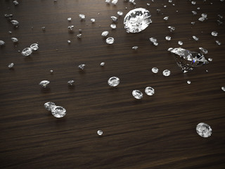 diamond on wood background with clipping path