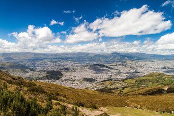 Quito, capital of Ecuador, as viewed from lookout Cruz Loma.