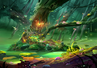 Illustration: The Magical Tree in The Magnificent and Mysterious and Scary Forest. Realistic Cartoon Style Scene / Wallpaper / Background Design.