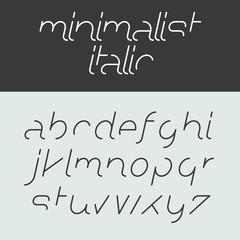 Minimalist italic alphabet, lowercase letters