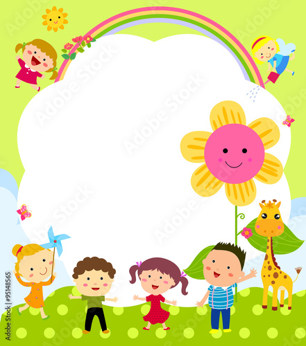 Quot Cute Frame With Kids Quot Stock Image And Royalty Free Vector