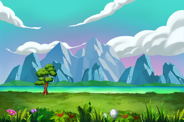 Illustration: The Good View of River Bank in front of the Mountains. Realistic Cartoon Style Scene / Wallpaper / Background Design.