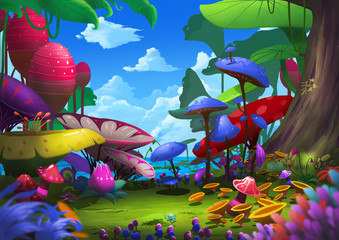 Illustration: Exotic Forest with Strange and Beautiful Things. For a Traveler it's Excited and Lucky to meet the place, also Dangerous. Realistic Cartoon Style Scenery / Wallpaper / Background Design.