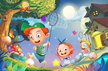 Illustration: Let's Go Catching the FireFlies! Happy Little Friends Playing Together Run into the Amazing Night. Realistic Cartoon Style Scenery / Wallpaper / Background Design.