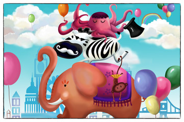 Illustration: Happy Animal Friends Card. The Elephant, The Zebra, The Octopus. Realistic Cartoon Style Scenery / Wallpaper / Background Design.