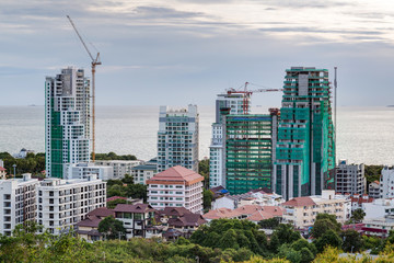 Construction of new luxury apartment buildings in  Pattaya