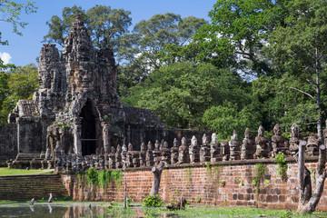 Bridge and South Gate of Angkor Thom,   Cambodia