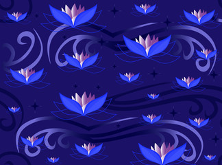 Vector floral seamless pattern with lotus flowers blooming in night garden