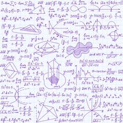 """Mathematical vector seamless texture with figures, equations and calculations. Endless math texture, """"handwritten on copybook paper sheet"""""""