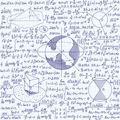 Mathematical vector seamless pattern with figures, plots and calculations, handwritten on a sheet of copybook paper